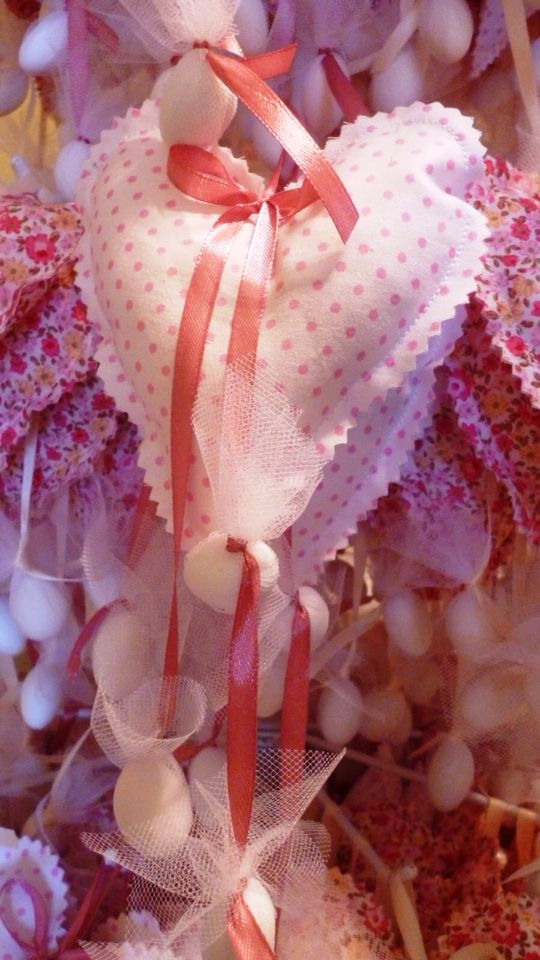 Fabric dotted heart #fabricheart #christening #favors #marriage #mpomponieres #handmadeheart