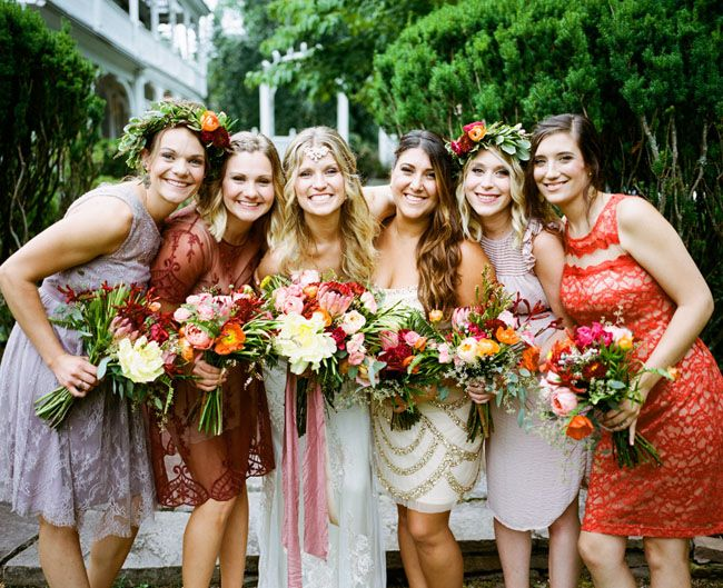 Bridesmaids in fall mismatched dresses