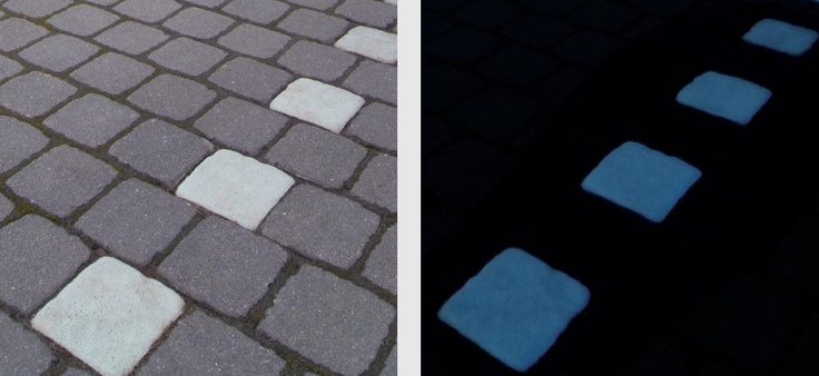 Noctilucent concrete pavers!  Store solar energy during the day and glow blue at night.  Think of the possibilities!