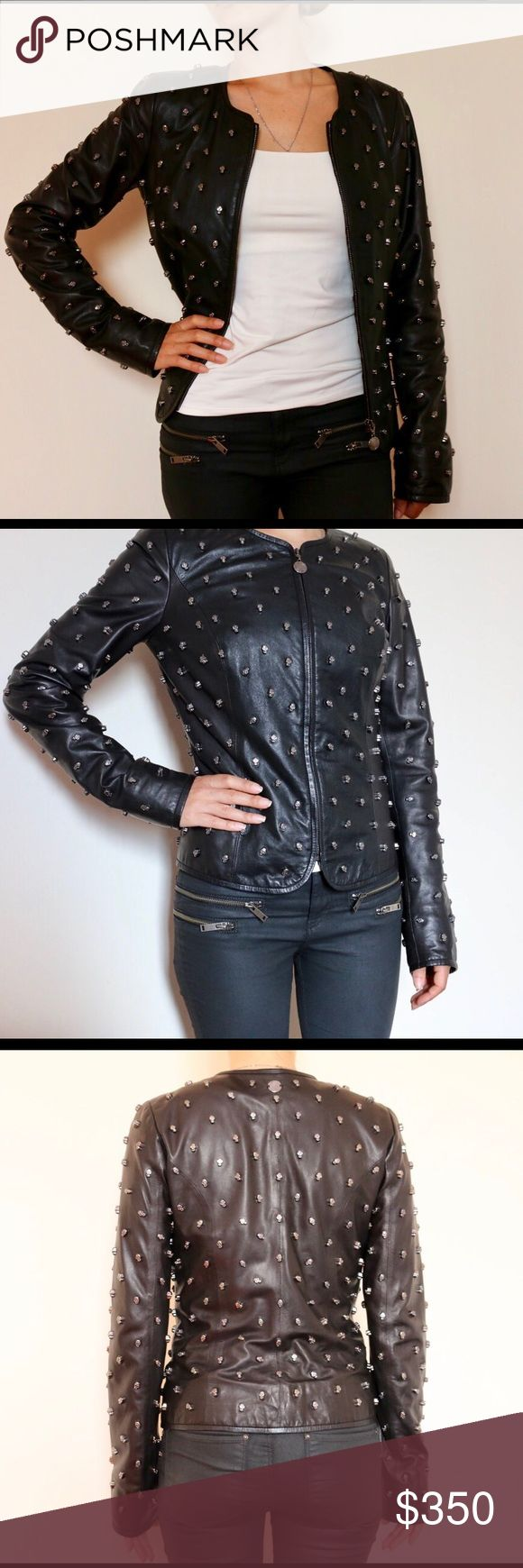 Italian Designer Leather Jacket with Skulls  Beautiful Leather Jacket, very cool looking! Leather is soft. It's hard to find something like this. Excellent like new condition!! Size XS Gian Mori Jackets & Coats