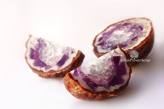 Amethyst Geode Soap Rock With Natural Moistening Oils And Essential Oils, Handmade Aromatherapy Soap Stone, Gem Soap