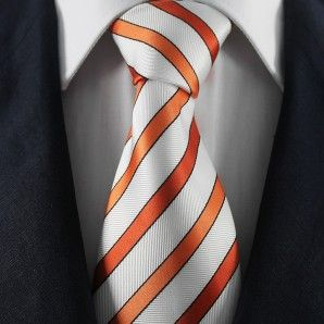 Orange & White Striped Neckties / Formal Business Neckties.