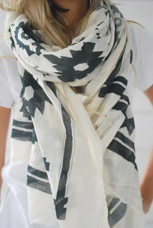 Summer Scarves, Fashion, Style, Black And White, Tribal Scarf, Big Scarves, Black White, Prints Scarf, Pretty Scarf