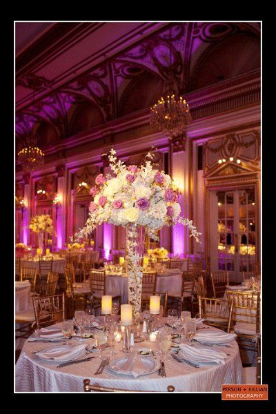 Elegant Modern Spring Pink Purple White Centerpiece Centerpieces Indoor Reception Place Settings Wedding Flowers Photos & Pictures - WeddingWire.com