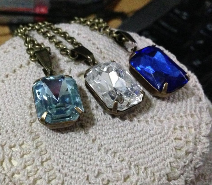 Handmade pendants using vintage swaroski rhinestone crystals in vintage claw pendant setting and matching vintage style chain $25 each - postage extra if required.