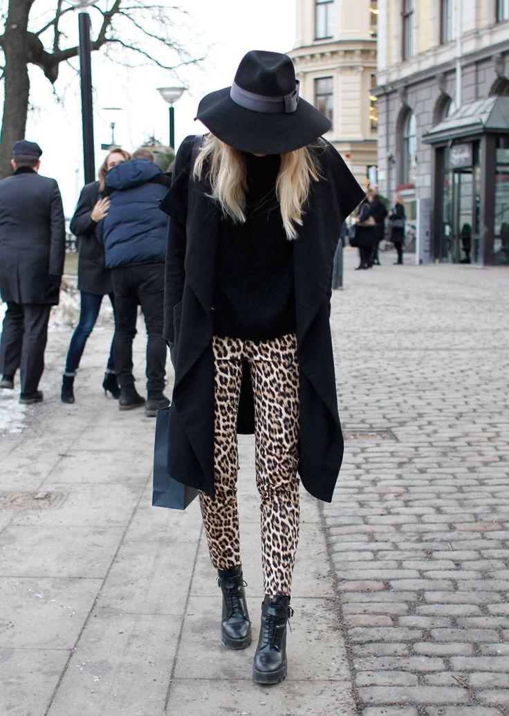 Great street style look - <3 leopard pants!