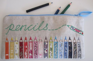 """I am utterly enchanted by this pencil case from Flossie Teacakes. l especially love the gradually widening outline stitching on the pencil points. """"Flossie"""" makes pencil cases for her children each September -- isn't that lovely?"""