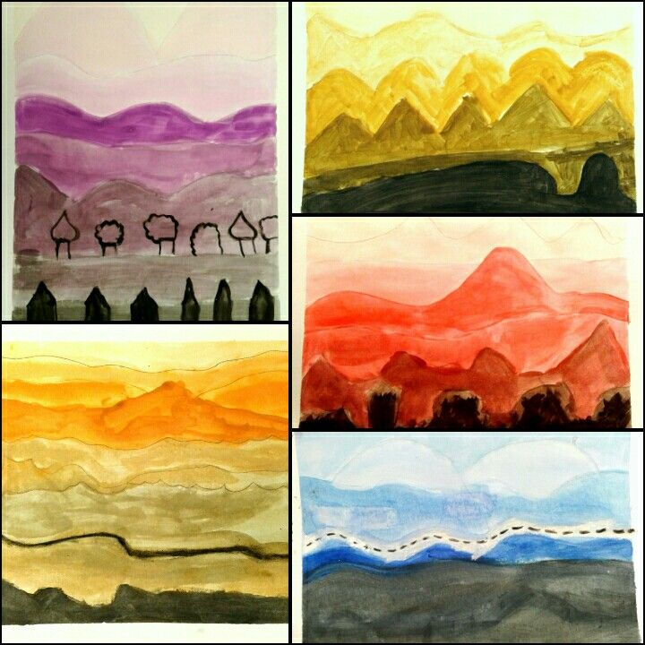 My elementary students created this lovely landscape painting very easily. First they drew the mountains, then they picked their favourite colour and mixed it with black and white to create the tones. The kids and their parents were very happy! We came up with very unique and impressive landscapes made by beginners!