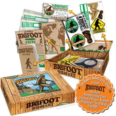 Our Bigfoot Research Kit contains items that increase your chances of finding Bigfoot. Comes in a decorated cardboard box that contains stickers, a membership card, evidence flags, informational booklet, field journal, a magnifier and scat bags.