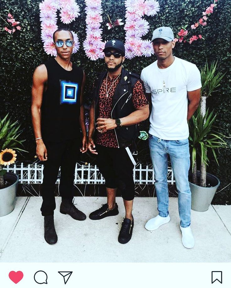 """Current Events: JamelHAWK's CEO John Roy @savvy_businessman rocking the orange leopard Tux Strip T and DJ HeartAttack @tylraustin and @marquis_goodboi sporting the """"Stem of Jamel"""" Denim Hat at Cle for Sunday Funday. #unity #scene #sundayfunday  #fashionmen #fashion #fitness #lifestyle #style #gq #menswear #mensfashion #cle #love #houston #media #bts"""