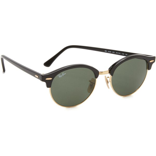 Ray-Ban Round Clubmaster Sunglasses (10,340 INR) ❤ liked on Polyvore featuring accessories, eyewear, sunglasses, round frame sunglasses, polarized lens sunglasses, round sunnies, rounded glasses and ray ban eyewear