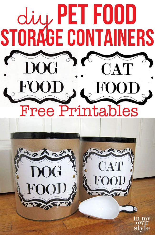 Organize and store you pet food in style. Make decorative pet food storage containers for your dog or cat. Free printable pet food labels to download.