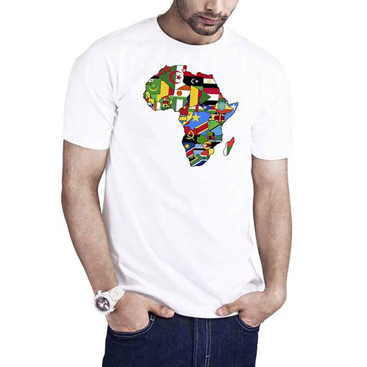 Men's Africa Map t-shirt African Countries Flags I love Africa map African pride t-shirt by Calidreamers on Etsy