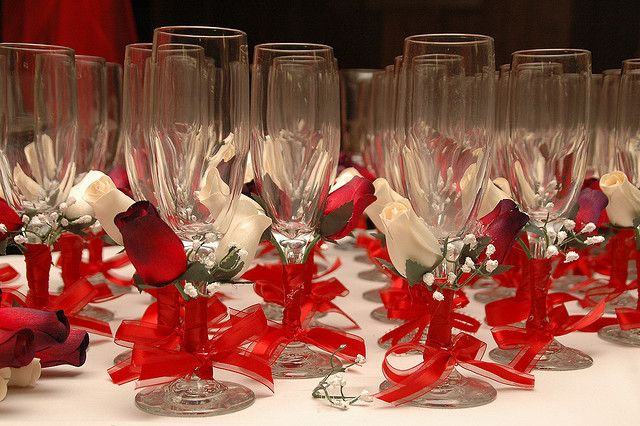 """El Brindis"" Red Theme Quinceanera Toasting Glasses"