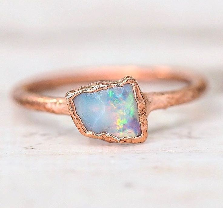 Dainty Raw Opal and Copper Ring | Available in our 'Mermaid' Collection