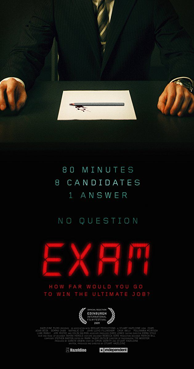 Eight candidates for a highly desirable corporate job are locked together in an exam room and given a final test with just one question. It seems simple yet confusing that soon, tensions begin to unravel.