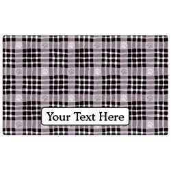 "Drymate Personalized Dog Place Mat - Black Paw Plaid - Personalized Pet Food Mat (Medium - 12"" x 20"")"