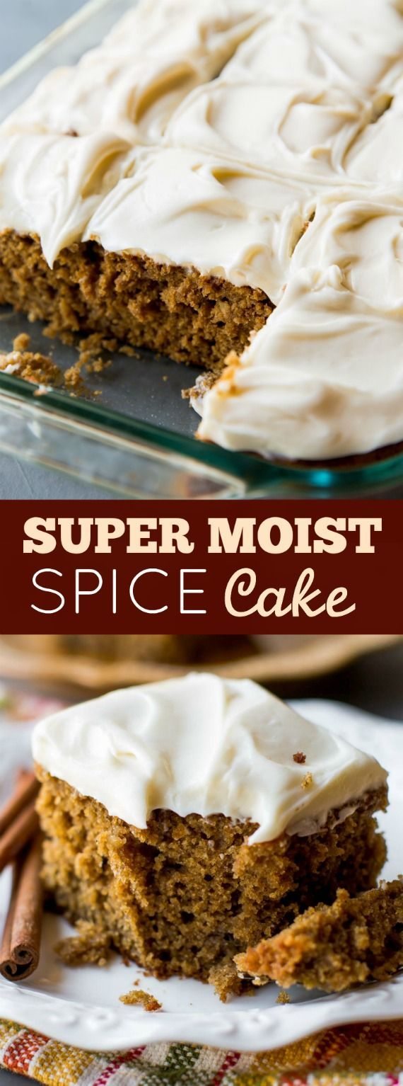 Homemade and super moist spice cake with tangy cream cheese frosting. Such an easy recipe packed with TONS of flavor! http://sallysbakingaddiction.com