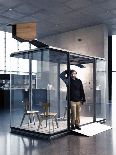 Radic's design is the first of the seven stops to be realized, as shown here at a design show in Bregenz. Radic reinterprets the western Aus...