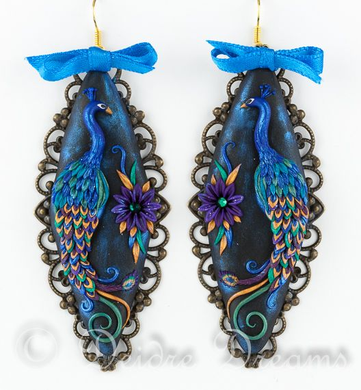 Peacock Magic Polymer Clay Embroidery Earrings by DeidreDreams.deviantart.com on @deviantART