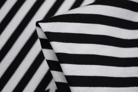 Classic black/off white striped Japanese 100% cotton knit (160cm wide…