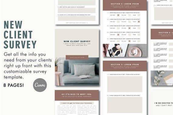 Client Questionnaire New Client Survey Template Branding Etsy In 2020 Survey Template Client Questionnaire Survey Questionnaire