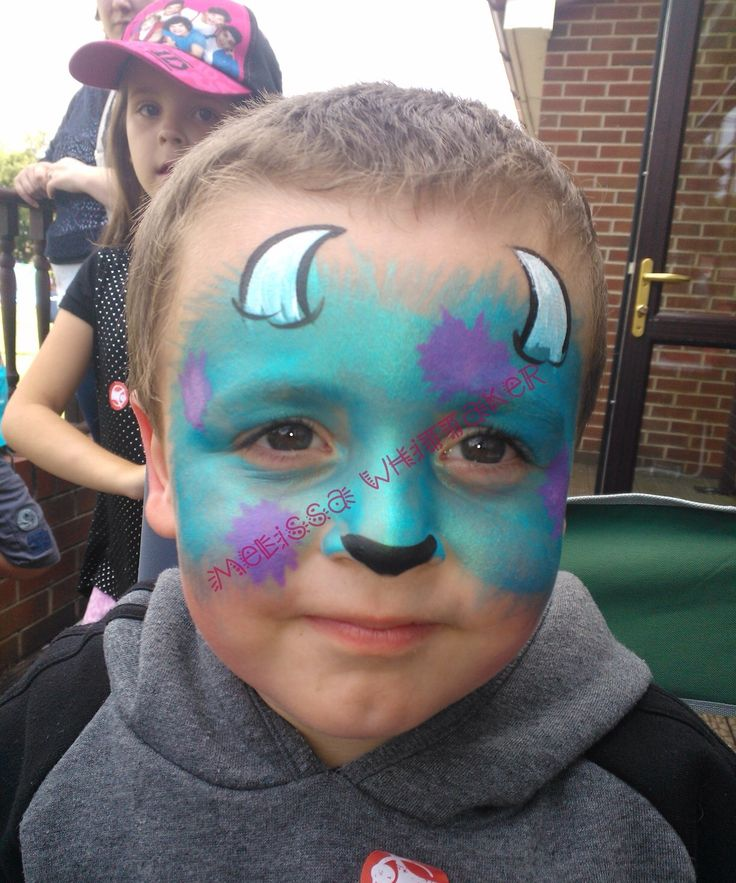 Sully face paint , monsters inc