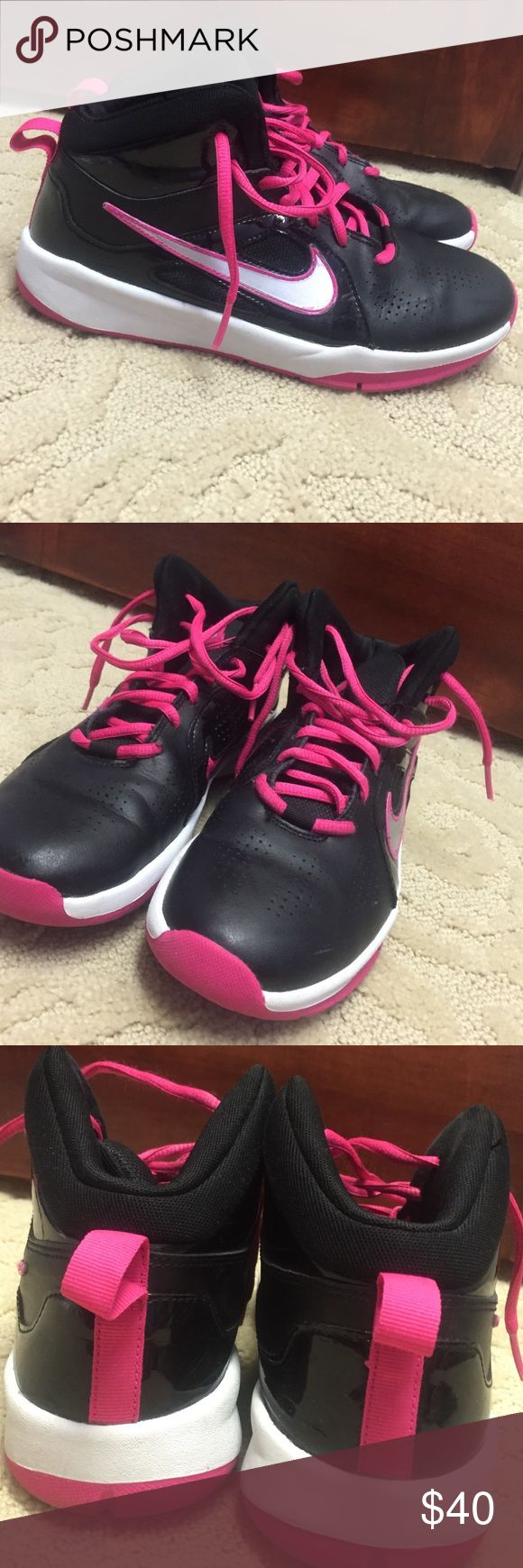 🏀Nike youth basketball shoes🏀 Pink and black nike basketball shoes!!!!! Lightly used for one basketball season! Almost flawless beside a few minor scrapes on the Nike swoosh (scratches pictured above) Nike Shoes Sneakers