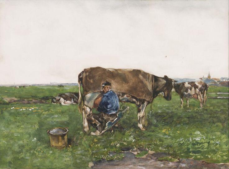Wilhelmus Hendrikus Petrus Johannes 'Willem' de Zwart (1862-1931) Milking time, watercolour and gouache on paper. Collection Simonis & Buunk, The Netherlands.