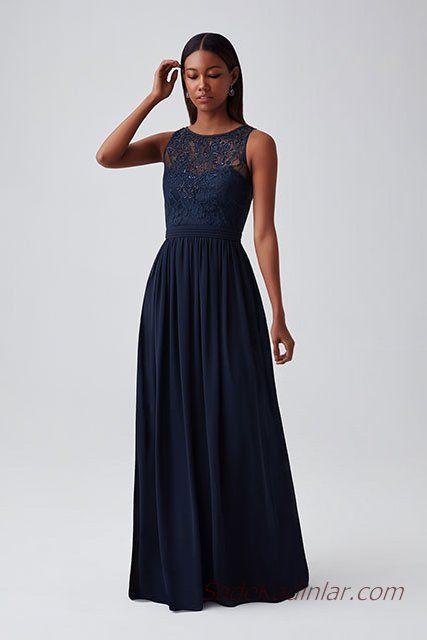 728fb3d11f0c3 2019 Abiye Elbise Modelleri Lacivert Uzun Kolsuz Transparan Yaka Kloş Etek