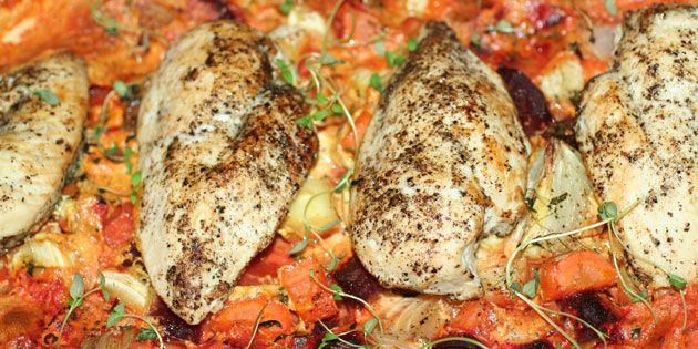 Kyllingefilet i ovn med rodfrugter