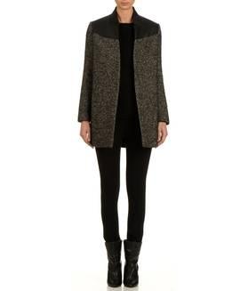 Manteau en laine et cuir BLACK MAJE FEMME - Boutique en ligne MAJE - Place des Tendances