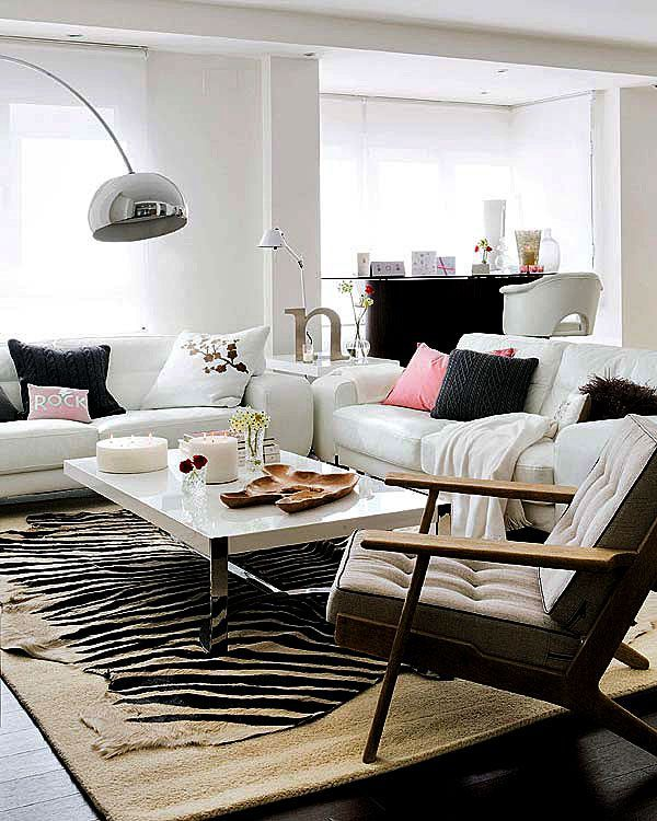 Zebra Print Living Room Rug