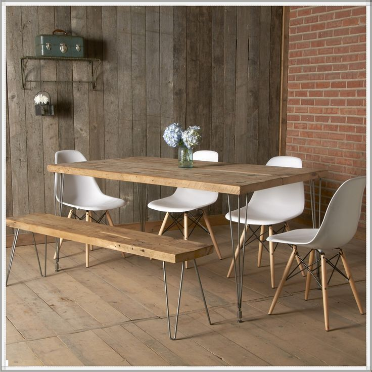 Modern reclaimed wood dining table  Mid Century Furniture  Urban Loft