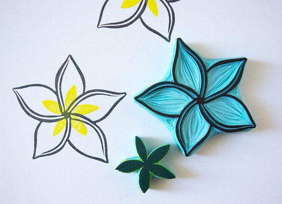 Sello de flor de plumeria, talladas a mano, suministro de scrapbooking…