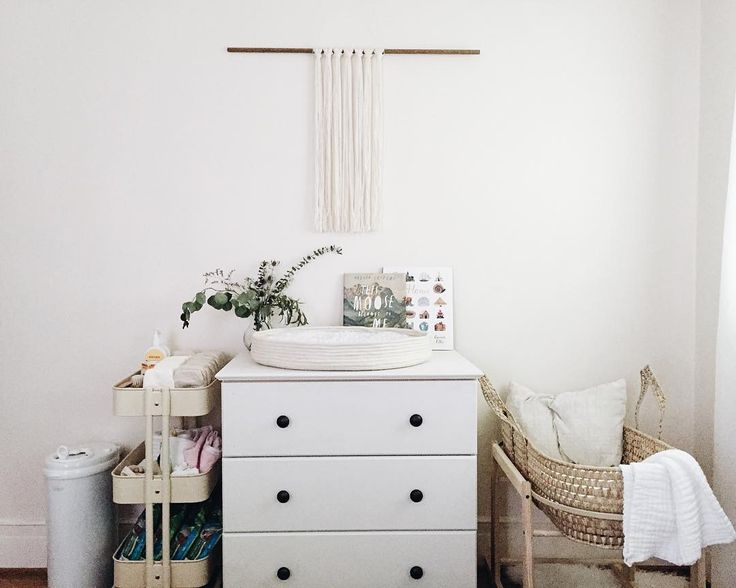 a small corner nursery in the master bedroom is all that's needed.