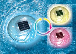 Floating solar pool lights will stay lit for 8 hours when fully charged.  These floating solar lights look great in your pool, pond, fountain or lake. Multiple color settings to fit every environment. http://www.intheswim.com/Pool-Accessories/In-Ground-Pool-Lights/Floating-Solar-Pool-Light/#