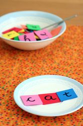 Pretend Word Cooking Activity. Have the kids mix letters in a mixing bowl and then cook words by placing them on plates.