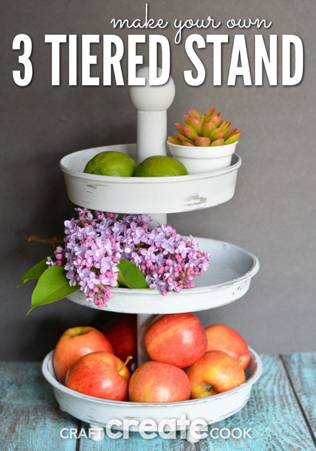 This knockoff Pottery Barn Inspired 3 Tiered Stand will look gorgeous in your home!