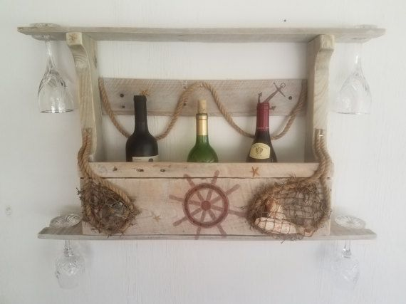 Nautical theme Wine RackPallet Wine by CustomWoodbyMike on Etsy