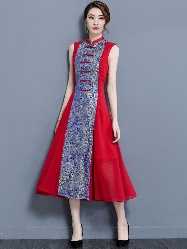 Mythical Red A-line Qipao / Cheongsam Dress