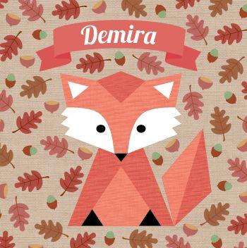 Geboortekaartje Demira Tara Sophie: www.hetuilennestje.nl. illustratief/ illustratie, herfst, blaadjes, eikels, natuur, seizoen, najaar, vos, vosje, dieren, bruin, roze, mint, meisje.