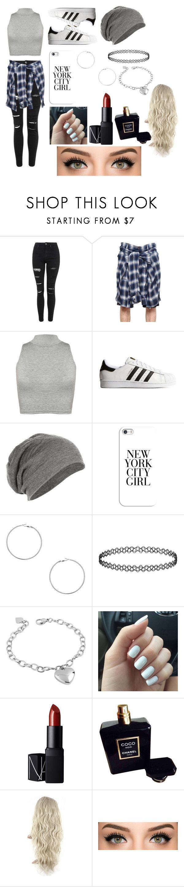 """New York City Girl"" by iamthequeenofwonderland ❤ liked on Polyvore featuring Topshop, Maison Mihara Yasuhiro, WearAll, adidas Originals, Casetify, Dorothy Perkins, West Coast Jewelry, NARS Cosmetics, Chanel and outfit"