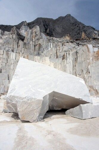 Carrara marble. Carrara is a city in Tuscany, sixty miles from Florence, famous for the white or blue-grey marble quarried there. Carrara marble has been used since the time of Ancient Rome; the Pantheon and Trajan's Column in Rome are constructed of it. Many sculptures of the Renaissance were carved from Carrara marble.