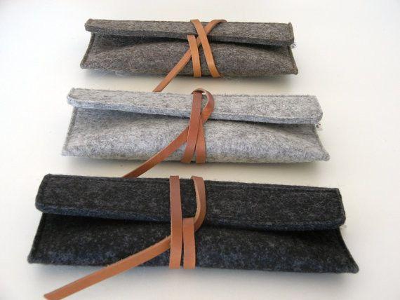 Minimalist wool felt leather Sunglass Case                                                                                                                                                                                 More