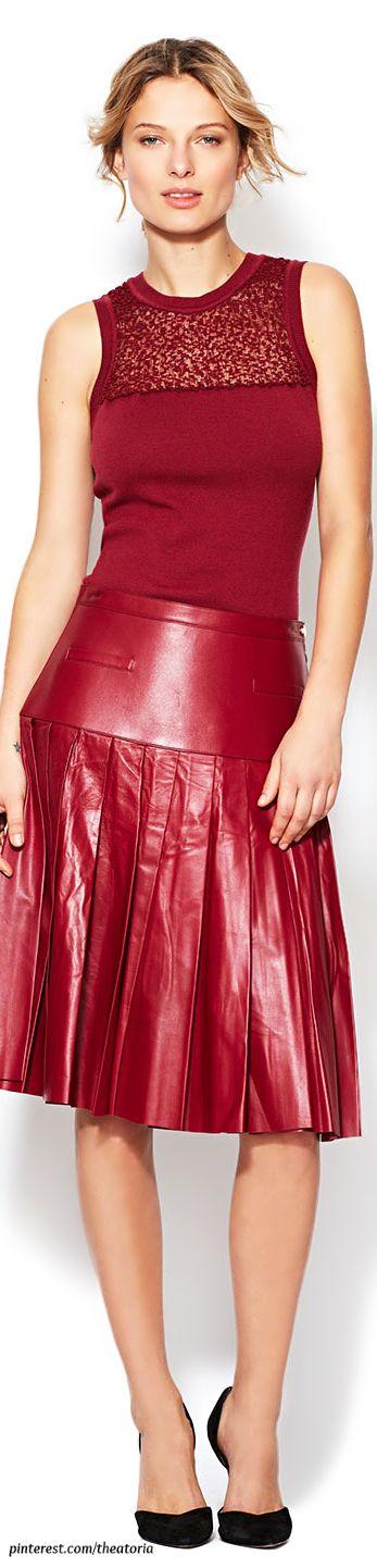 Oscar de la Renta ● Drop Waist Leather Skirt
