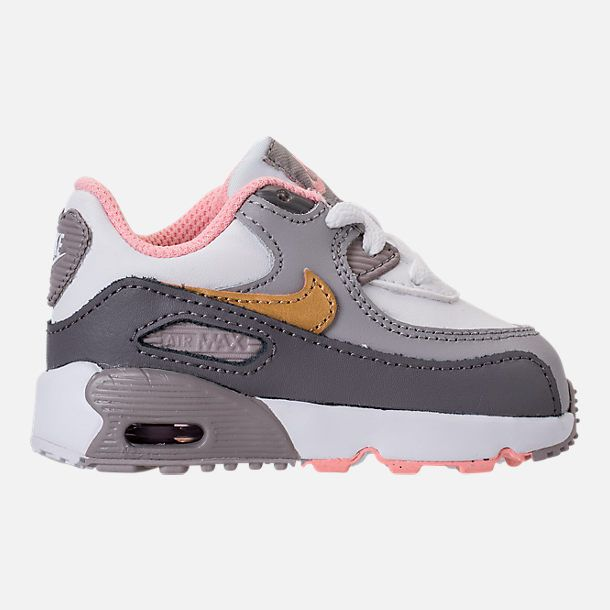 2607cf3f477 Right view of Girls  Toddler Nike Air Max 90 Leather Running Shoes in  Gunsmoke Metallic Gold Atmosphere Grey