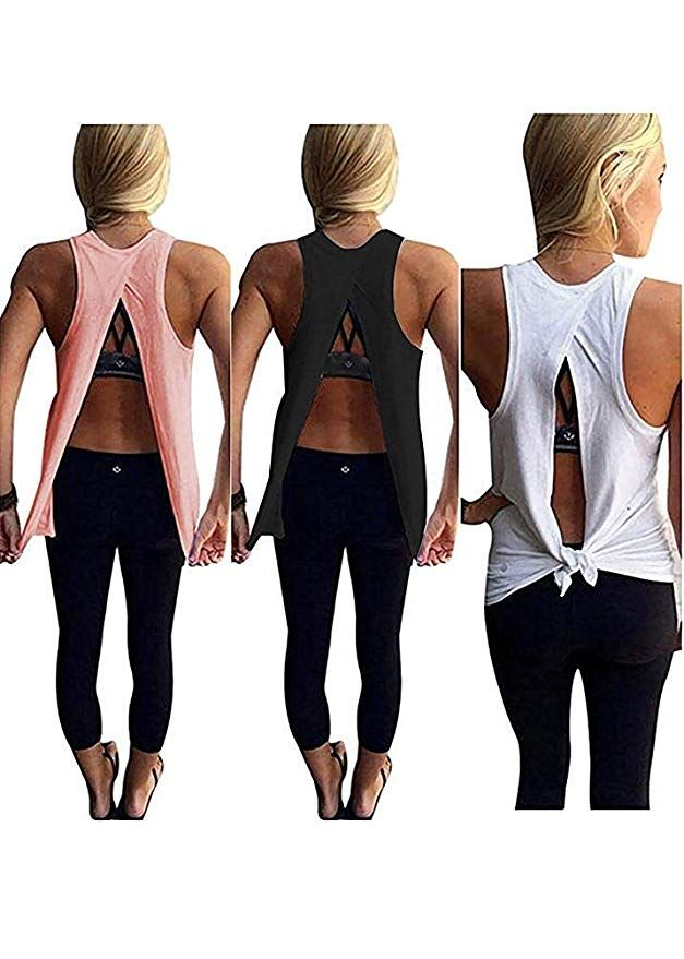 46243cd8abf Mazonyi Women s Summer Open Back Shirt Workout Tops Sleeveless Casual Yoga  Racerback Tank Top Loose Fit Blouse Sexy Tops for Junior White Black Pink  Small ...