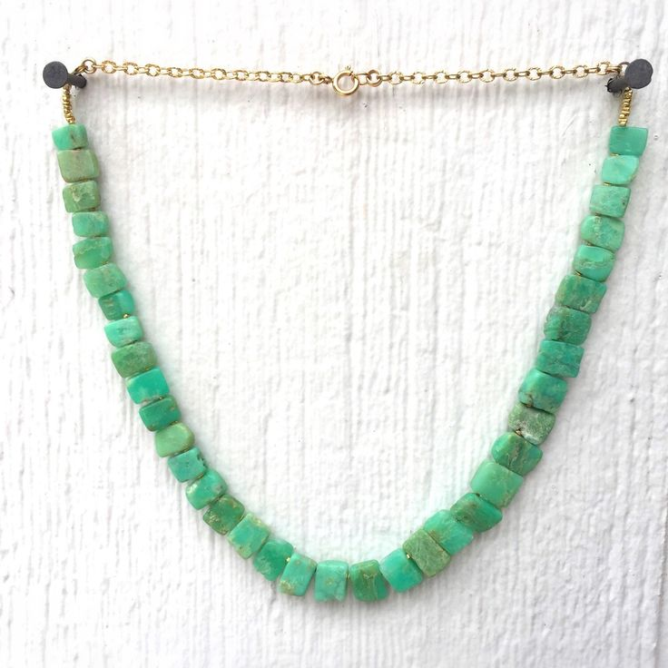 Chrysoprase Necklace - Gold Jewelry - Beaded Necklace - Green - Mint by jewelrybycarmal on Etsy https://www.etsy.com/listing/269463310/chrysoprase-necklace-gold-jewelry-beaded