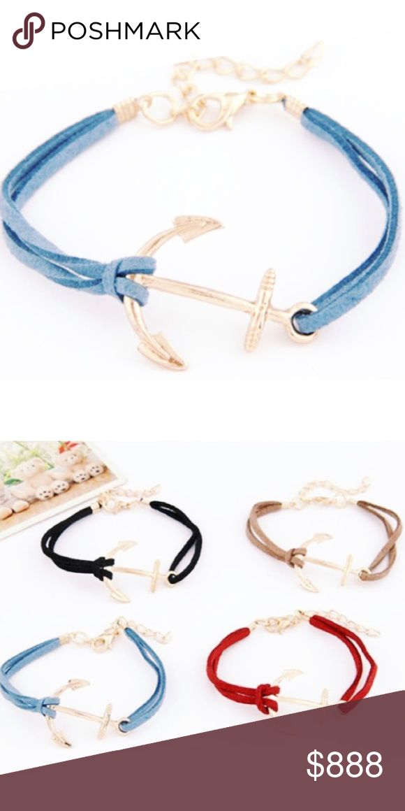 """Blue Leather Anchor Bracelet They say, """"Life's storms prove the strength of our anchors.""""  Wear an adorable Leather Anchor Bracelet to remind you how strong you really are or get one for a friend that has been your rock through difficult times.   Materials:  Zinc Alloy & Leather  Length:  6.5"""" with 2"""" Chain Extender  Available in 3 colors look in other listings for different colors. Jewelry Bracelets"""